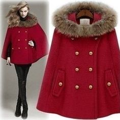 Elegant Women's Double-Breasted Fur Hooded High-Quality Winter Cape Coat