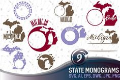 #Ad. Michigan Monograms SVG, JPG, PNG, DWG, CDR, EPS, AI from DesignBundles.net