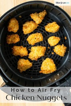 Air fryer chicken nuggets are a healthier way to enjoy crispy chicken bites. Coating them in crunchy potato chips makes breading them not only easy, but very tasty too! Use any flavor potato chips and come up with your very own nuggets that both kids and adults will love. So much better than store bought frozen nuggets.