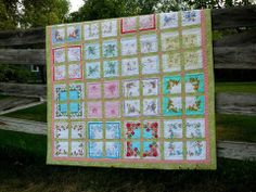 Hanky QUilt- what a wonderful way to use and display those lovely old vintage hankies from Dirt Cheap Decor!