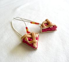 by E Pazos on Etsy Artisan Jewelry, Handmade Jewelry, Unique Jewelry, Handmade Gifts, Polymer Clay Miniatures, Miniature Food, Small Businesses, Hoop, Cherry