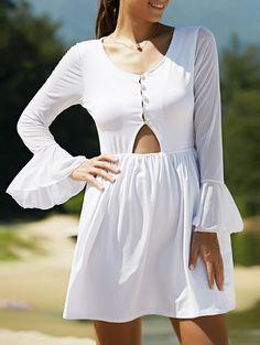 Mesh Spliced Scoop Neck Flare Sleeve Dress WHITE: Mini Dresses | ZAFUL