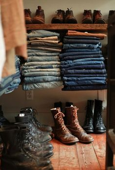 would love for this closet to be mine, leather boots jeans fashion men streetstyle