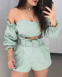 Striped Off Shoulder Frill Hem ToShorts Set - Women Store Chic Outfits, Trendy Outfits, Summer Outfits, Summer Dresses, Trend Fashion, Womens Fashion, Fashion Ideas, Work Fashion, Gothic Fashion