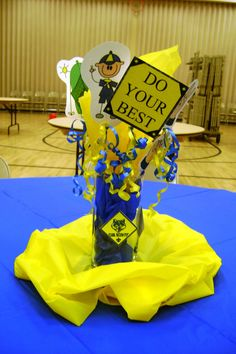 Cub Scout table centerpiece ~ Blue & Gold Dinner  @Jade Buchanan