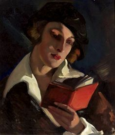 """Woman Reading"" by Irena Łuczyńska-Szymanowska (Polish,1890-1966); oil on canvas, 56 x 49, National Museum, Warsaw."