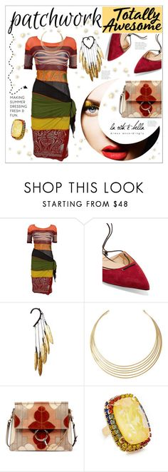 """All Patched Up! Patchwork!"" by jessicad110916 ❤ liked on Polyvore featuring Jean-Paul Gaultier, Christian Louboutin, Anni Jürgenson, Lauren Ralph Lauren, Chloé, Elizabeth Cole, colors, patchwork, allpatchedup and notdenimthistime"