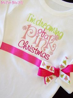 Size 3-6 months Ready to Ship Pink Christmas SpARkLe bodysuit- Long Sleeved- Christmas for baby girl toddler newborn. $38.00, via Etsy.