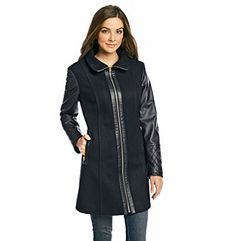 Product: MICHAEL Michael Kors® Wool Blend Coat with Gold Hardware and Faux Leather Sleeves