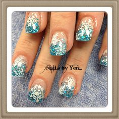 Winter nail design with snowflakes #yen #holiday #blue glitter #acrylic #stamped ...thank you, Kristy!