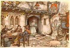 Old Queen's head:Anton Pieck Anton Pieck, Dutch Painters, 3d Prints, Dutch Artists, Vintage Art, Painting & Drawing, Illustrators, Fairy Tales, Illustration Art