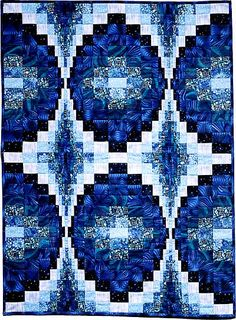 "Blue Bargello, 29.5 x 40"", by Ann Lainhart at Quilted Gallery"