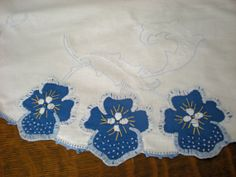 Gorgeous cobalt blue embroidered tablecloth, cut work, hand stitching, round table cloth.