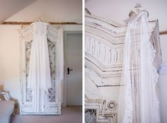 Wedding dress and veil ready for the bride in Jasmine Cottage at Upwaltham Barns