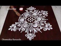 Beautifull flower Rangoli Design with Dots Easy Rangoli Designs Diwali, Indian Rangoli Designs, Rangoli Designs Latest, Rangoli Designs Flower, Free Hand Rangoli Design, Rangoli Border Designs, Small Rangoli Design, Rangoli Patterns, Rangoli Designs Images