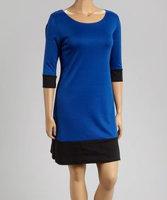 Loving this Royal & Black Color Block Dress - Plus on #zulily! #zulilyfinds