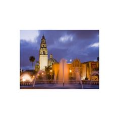 Fountain and Museum of Man in Balboa Park, San Diego, California... (56 AUD) ❤ liked on Polyvore featuring home, home decor, wall art, architectural wall art, photographic wall art and photography wall art