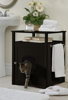 "Litterbox gone domestic. ""Cat Washroom"" offers an elegant, practical and multi-functional way to cover that unsightly litter box. Blends seamlessly with interior settings and suitable for almost every room of the house as a Litter Box Cover or Night Stand Pet House."