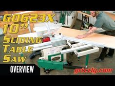"Features and uses of Grizzly's G0623X - 10"" 5 HP 230V Sliding Table Saw - YouTube Sliding Table Saw, Youtube, Youtubers, Youtube Movies"
