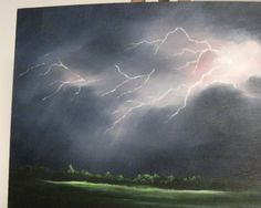 Lightning storm over the field oil painting $65