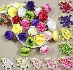 wholesale 50 to 500PCS Roses Artificial Silk Flower Heads Wedding decor optional