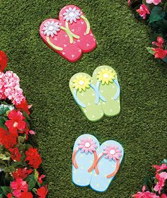 3pc Flip Flop Steppingstone Garden Yard Lawn Outdoor Summer Beach Stone Decor