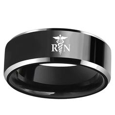 Black Tungsten Wedding Promise Ring with NBA Team Logo - March Madness Engagement Bands, Wedding Ring Bands, Engagement Jewelry, Wedding Engagement, Black Tungsten Rings, Wedding Promises, Tungsten Carbide Wedding Bands, Los Angeles Lakers, Black Rings