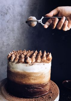 A decadent mélange of dark chocolate, espresso and vanilla layers brought together with a creamy ombré mascarpone frosting, everything you love about a classic Tiramisu in one cake! Speckled with v…