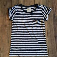 Hollister Stripped Boyfriend Top Gentle use. Cuffed sleeves. Small pocket with Hollister embroidery. Loose boyfriend fit. Hollister Tops Tees - Short Sleeve