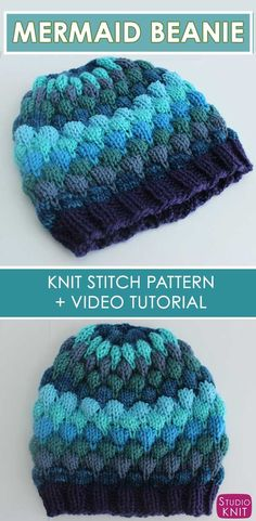 Learn how to knit this Mermaid Bubble Beanie Hat with Free Pattern and Video Tutorial by Studio Knit #StudioKnit #knittedhat #freeknittingpattern #howtoknit #hat #freeknitting