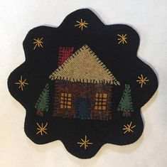 All Wool Top Log Cabin Applique Table Mat or Wall Hanging Felt Back Penny Rug Patterns, Wool Applique Patterns, Hand Applique, Print Patterns, Felted Wool Crafts, Felt Crafts, Wool Felting, Christmas Applique, Felt Christmas Ornaments