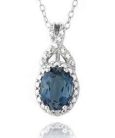 Look at this #zulilyfind! London Blue Topaz & Sterling Silver Round Pendant Necklace #zulilyfinds