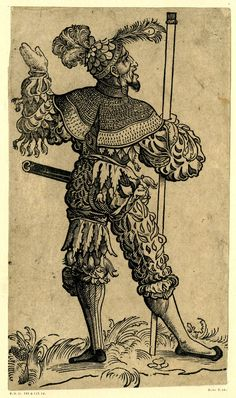 A Landsknecht seen from behind, with a peacock's feather on his hat; FL figure, holding a pole in his right hand and looking towards the right. From a series of fifty woodcuts.  c.1525-30  Woodcut  British Museum