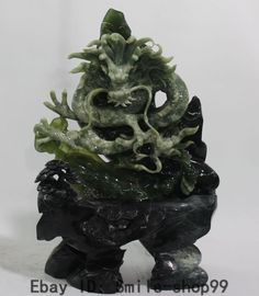 """20"""" Chinese Natural Green Jade Emperor FengShui Auspicious Dragon Dragons Statue"""