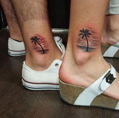 Matching palm tats by Miami Tattoo Co.