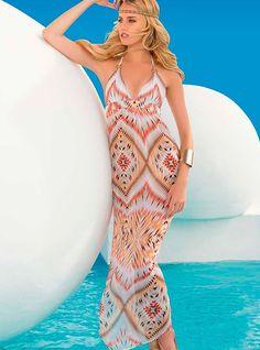 beach fashion l Lady Lux: Tribal Temptation Maxi Dress cover up lSwimwear World l beach fashion Swimwear 2015, Two Piece Bikini, Designer Swimwear, Silk Crepe, Gold Dress, Beach Dresses, Resort Wear, Lady, Beachwear