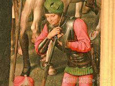 Soldier with langes messer and buckler at his side. From the Passion Triptych by Hans Memling (1491), Sankt Annen Museum, Lübeck.