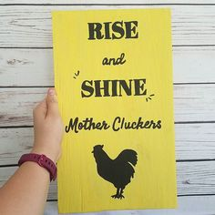 I looooove the bright yellow on this sign. It was a custom request by a customer. We can do any color you could imagine in almost all of our signs.  What is your fav color? Mine is teal  . . . #yellow #woodsign #workathomemom #etsyseller #handlettered #chickencoop #farmdecor #farmlife #chickens #rooster #motherclucker #backyardpoultrymag #chickensofinstagram #urbanchickens #funny #lol #crazychickenlady #colorful #bosslady  #abmlifeiscolorful #mybeatifulmess