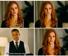 ❤️I love the way that Harvey declares his love for Donna like it was an obvious thing, not in a romantic way❤️ Serie Suits, Suits Tv Series, Suits Tv Shows, Suits Harvey And Donna, Donna Paulsen, Sarah Rafferty, Tv Show Couples, Suits Usa, Gabriel Macht