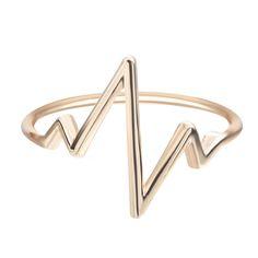 1 개 2017 실버 보석 패션 여성 골드 만들때는 펄스 심장 박동 밴드 링 빈티지 약혼 반지