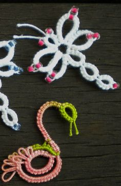 Tat-a-Renda: Free Patterns - Miscellaneous Dragonfly and Flamingo/Swan