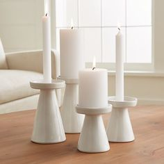 Marin White Taper/Pillar Candle Holders - Image 2 of 10 candle holder Marin White Taper/Pillar Candle Holders Large Candles, White Candles, Diy Candles, Design Candles, Diy Candle Pillar, Decorative Candles, Candle Art, Clay Candle Holders, White Candle Holders