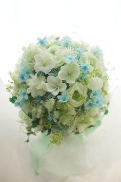 プリザーブドフラワーブーケと花冠 滋賀へ ブルースターの画像:一会 ウエディングの花