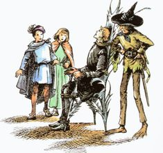 Puddleglum, Eustace, Polly, and Prince Rillian from The Silver Chair.