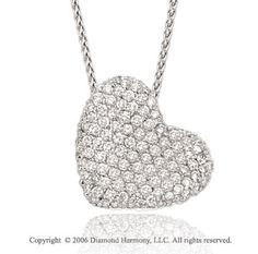 14k White Gold Prong 2/3 Carat Diamond Heart Necklace -> Description: This heart-shaped patch of white gold is abloom with over 70 prong set diamonds. You 'll harvest heaps of praise when you put on this -> sku=HT9132 -> Price $925.00