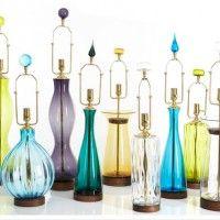 blenko colorful galssware carafe lamps vowls artglass