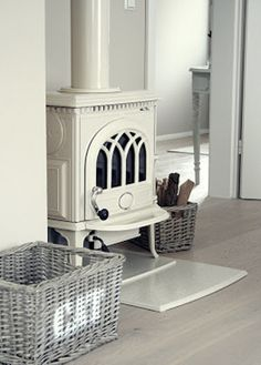 This looks like Jotul brand stove. If we plan for a stove in the living room, I… Wood, House Design, Cottage, House, Home, House Inspiration, New Homes, Stove, Wood Stove