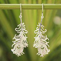 Sterling silver dangle earrings, 'Frozen Feathers' - Sterling Silver Dangle Earrings