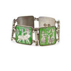 David Andersen Sterling Bracelet, Norse Mythology, Norway Modernist... ($200) ❤ liked on Polyvore featuring jewelry, bracelets, odin, heart shaped jewelry, heart jewellery, green bangles and vintage jewelry