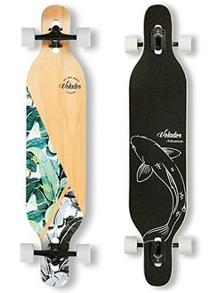 VOLADOR freeride longboard complete cruiser (drop through deck – camber concave) Deck: Maple laminate with photo heat transfer graphic Trucks: 40 degree base – hangers, alu… Longboard Decks, Skate Longboard, Longboard Cruiser, Best Longboard, Skateboard Deck Art, Penny Skateboard, Longboard Design, Skateboard Design, Skateboard Girl